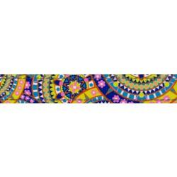 5/8 Inch Yellow Boho Mandala Reflective Polyester Webbing