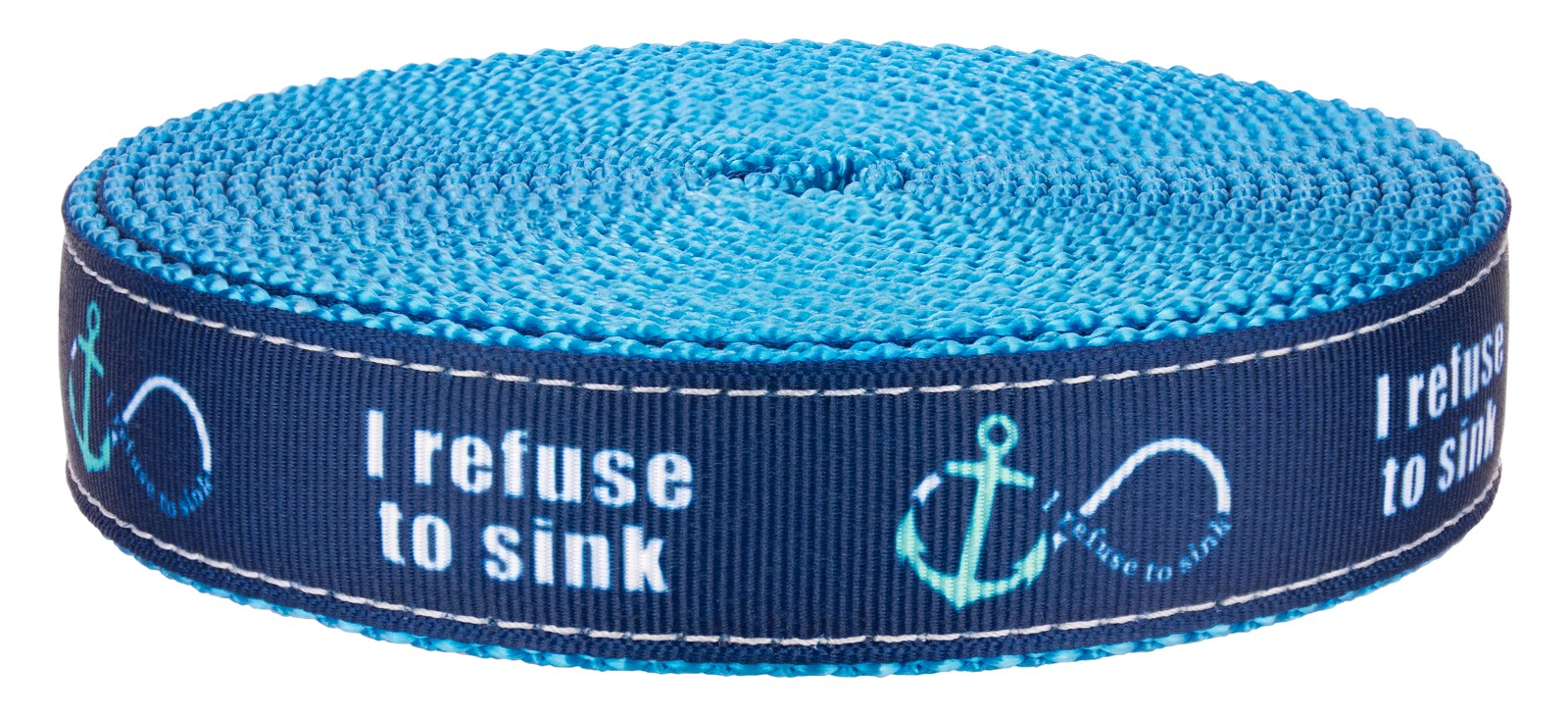 5 Yards 3//4 Inch Blue Refuse to Sink on Ice Blue Nylon Webbing Closeout
