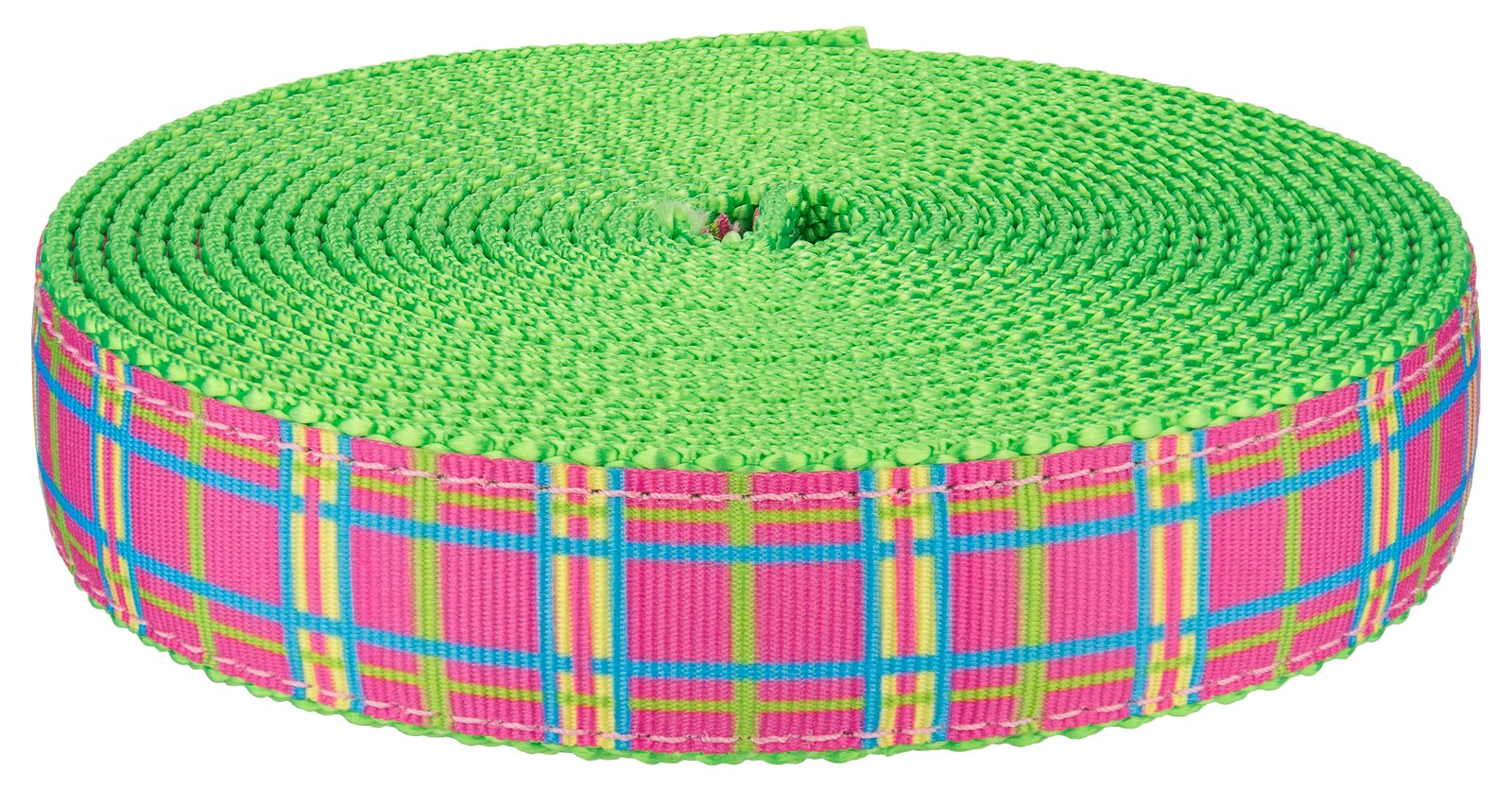 Country Brook Design® 3//4in Spring Pink Plaid on Hot Green Nylon Webbing 10 Yds