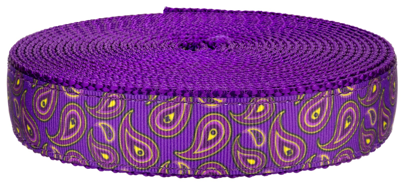 buy 1 inch purple paisley on purple nylon webbing online