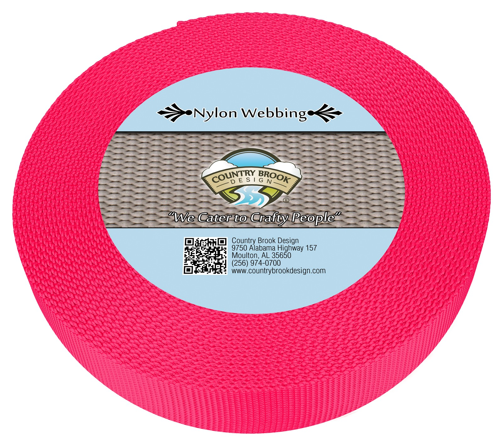 3//4 Inch Pink and White Gingham Ribbon on Hot Pink Nylon Webbing 5 Yards