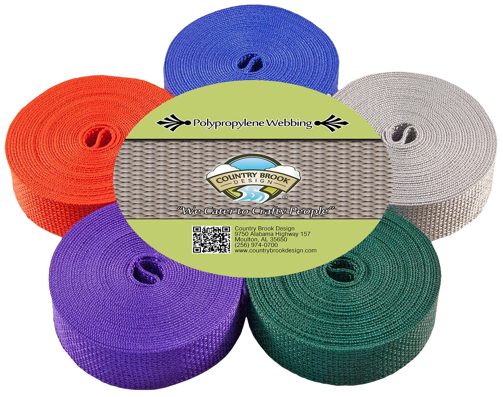 10 Yards Country Brook Design® 1 Inch Turquoise Polypro Webbing