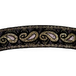 15/16 Inch Gold Trim Paisley Woven Ribbon