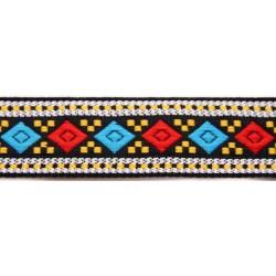 1 1/8 Inch Blue & Red Diamonds Woven Jacquard Braid Ribbon