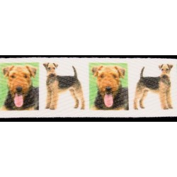1 Inch Airedale Terrier Cotton Ribbon, 1 Yard