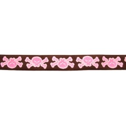 1 Inch Brown & Pink Skull & Cross Bone Woven Ribbon, 1 Yard