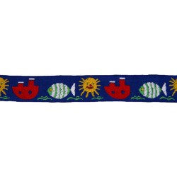 1 Inch Wide Blue Aquatic Fun Woven Ribbon