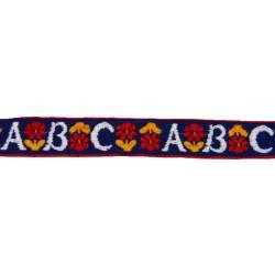 3/4 Inch White ABC's Woven Jacquard Braid Ribbon
