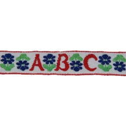 3/4 Inch Red ABC's Woven Jacquard Braid Ribbon