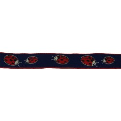 3/4 Inch Lady Bugs Woven Jacquard Braid Ribbon