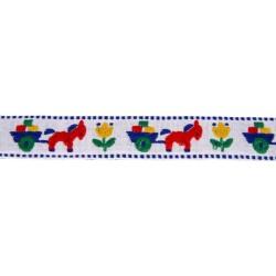 1 1/8 Inch White Burro & Cart Woven Jacquard Braid Ribbon