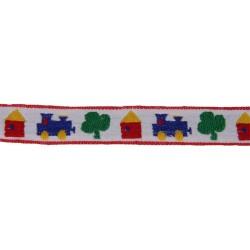 3/4 Inch White All Aboard Woven Jacquard Braid Ribbon