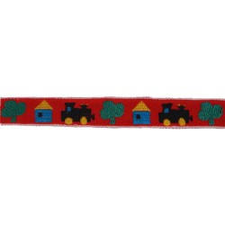 3/4 Inch Red All Aboard Woven Jacquard Braid Ribbon