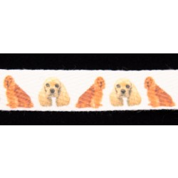 5/8 Inch Cocker Spaniel Cotton Ribbon - Various Lengths