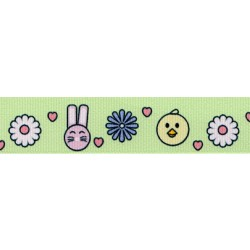 7/8 Inch Bunnies and Chicks Grosgrain Ribbon
