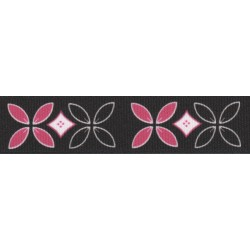 Black and Pink Flowers Grosgrain Ribbon