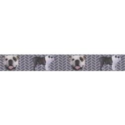 7/8 Inch English Bulldog Tough Guy Grosgrain Ribbon