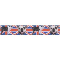 7/8 Inch English Bulldog Union Jack Grosgrain Ribbon