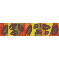 7/8 Inch Fall Leaves Grosgrain Ribbon