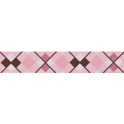 Pink and Brown Argyle Grosgrain Ribbon