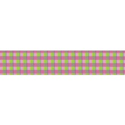 7/8 Inch Pink and Green Gingham Grosgrain Ribbon