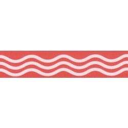 7/8 Inch Red Wave Grosgrain Ribbon