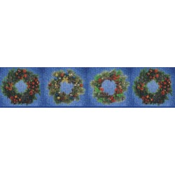 7/8 Inch Wreaths Grosgrain Ribbon Closeout, 1 Yard