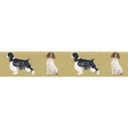 5/8 Inch Springer Spaniel Grosgrain Ribbon Closeout, 1 Yard