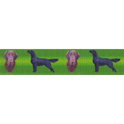 7/8 Inch Flat Coated Retriever Grosgrain Ribbon
