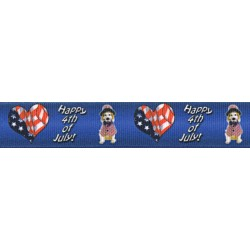 7/8 Inch 4th of July Dog Grosgrain Ribbon Closeout, 1 Yard