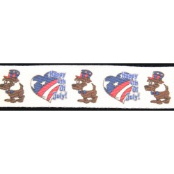 Happy 4th of July Cotton Ribbon - Various Widths