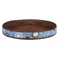 3/4 Inch Blue and Brown Orbs Ribbon on Brown Nylon Webbing Closeout, 1 Yard