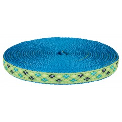 1/2 Inch Lime Green and Blue Argyle Ribbon on Ice Blue Nylon Webbing Closeout