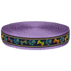 1 Inch Plaid Bones and Paws Ribbon on Lavender Nylon Webbing Closeout