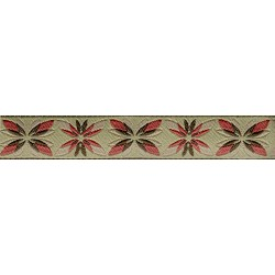 5/8 Inch Antique Flowers Jacquard Ribbon Closeout-Various Lengths Available