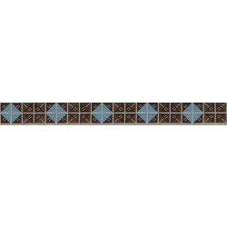 5/8 Inch Blue & Brown Diamond Jacquard Ribbon Closeout - Various Lengths Available