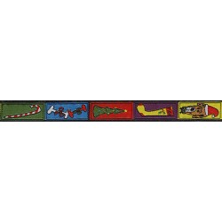 5/8 Inch Multi-Colored Christmas Dog Jacquard Ribbon Closeout-Various Lengths Available
