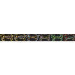 5/8 Inch Stitched Bones Jacquard Ribbon Closeout-Various Lengths Available
