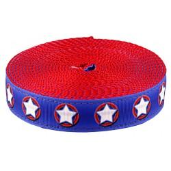 1 Inch American Stars Ribbon on Red Nylon Webbing