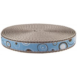 3/4 Inch Blue and Brown Orbs Ribbon on Silver Nylon Webbing Closeout