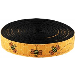 1 Inch Busy Bee Ribbon on Black Nylon Webbing