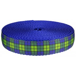 1 Inch Blue and Green Plaid on Royal Blue Nylon Webbing