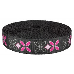 1 Inch Black and Pink Flowers Ribbon on Black Nylon Webbing