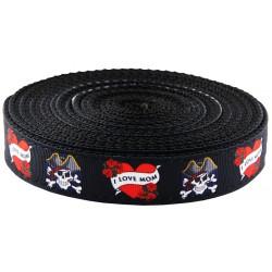 1 Inch I Love Mom Ribbon on Black Nylon Webbing
