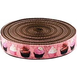 1 Inch Pink Cupcakes Ribbon on Brown Nylon Webbing