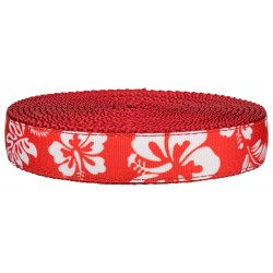 1 Inch Red Hawaiian on Red Nylon Webbing