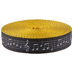 1 Inch Sheet Music Ribbon on Gold Nylon Webbing