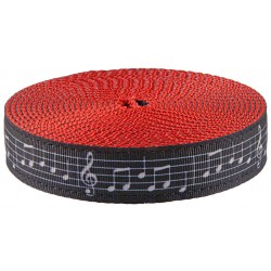 1 Inch Sheet Music Ribbon on Red Nylon Webbing