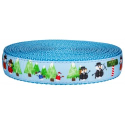 1 Inch Snowman Party on Ice Blue Nylon Webbing