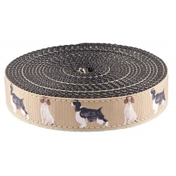 1 Inch Springer Spaniel Ribbon on Black Nylon Webbing